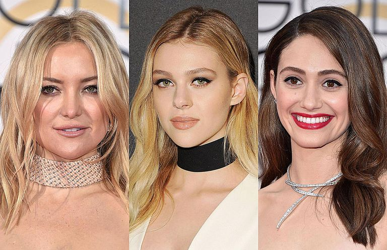 Кате Hudson, Nicola Peltz, and Emmy Rossum wearing chocker necklaces at the Golden Globes, 2016