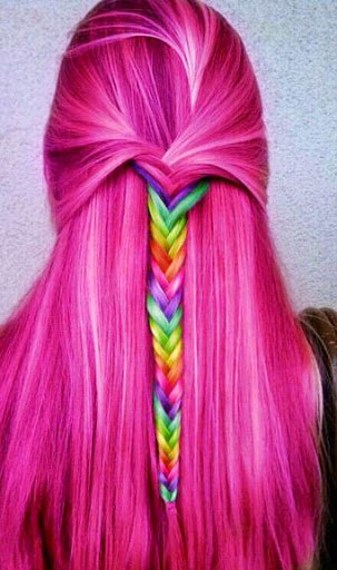 dugo Hot Pink Hair with Rainbow Braid