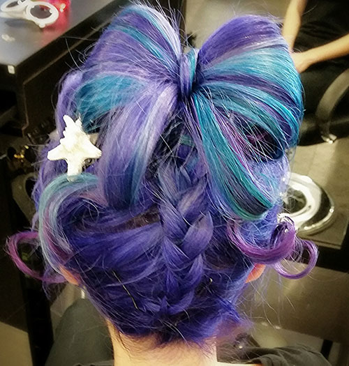 purpurna boja and Blue Updo Hairstyle