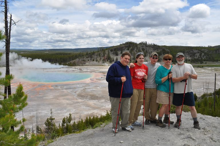 multigenerational group at Yellowstone National Park.