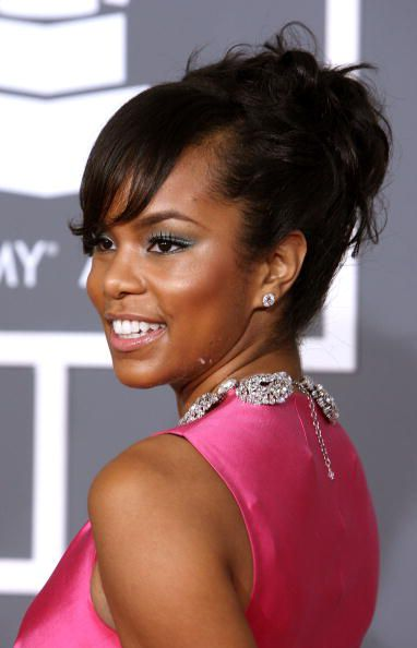LeToya Luckett in updo with bangs