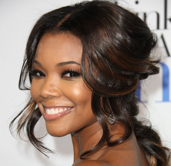 Gabrielle Union in partial updo