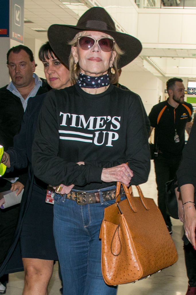 Jane Fonda in a Times Up shirt at the airport