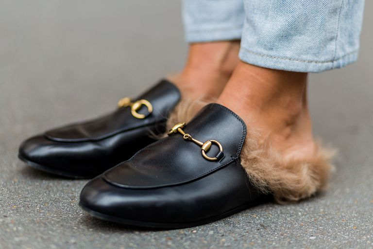 Carolina Nizza wearing Gucci slip ons outside Marques Almeida during London Fashion Week Spring/Summer collections 2017 on September 20, 2016 in London, United Kingdom.