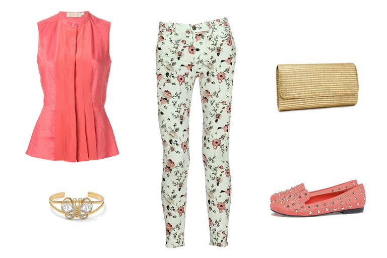 Лето date outfit with rose printed jeans