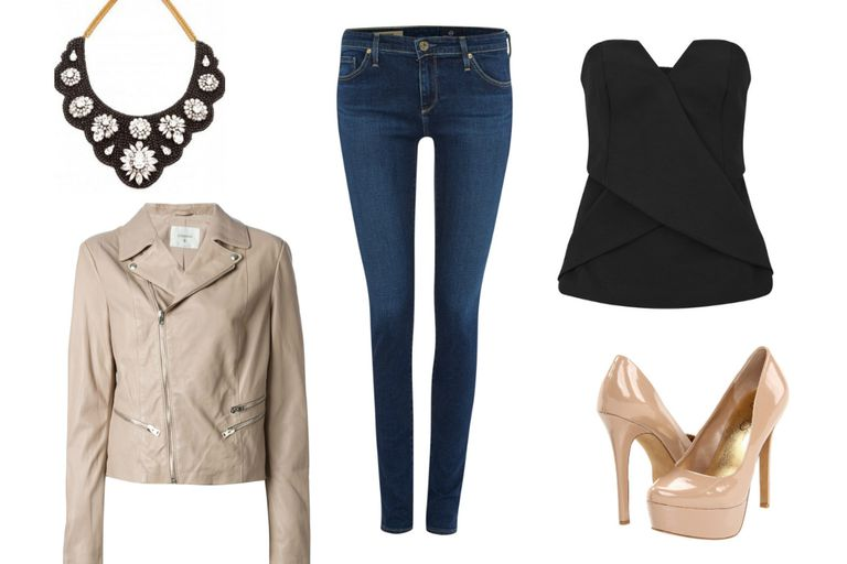 Бустиер top jeans and leather jacket outfit