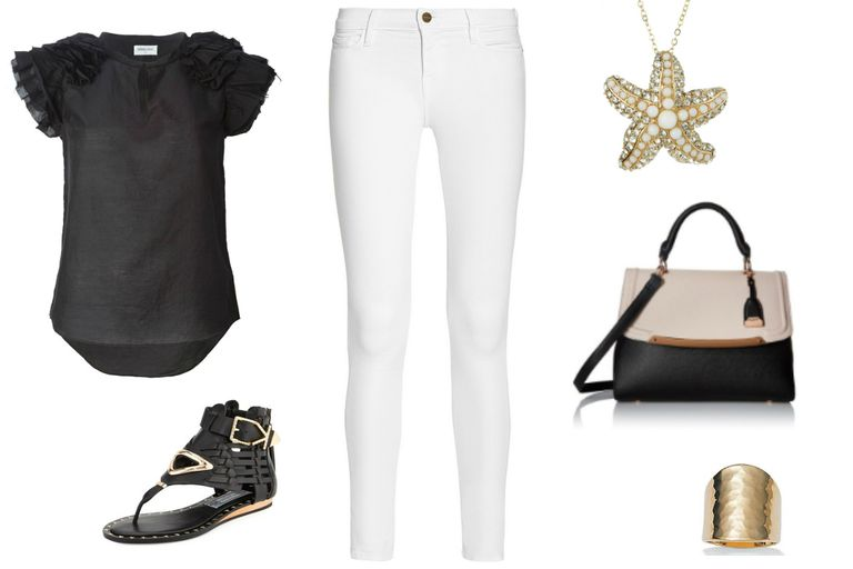Датум outfit with white jeans