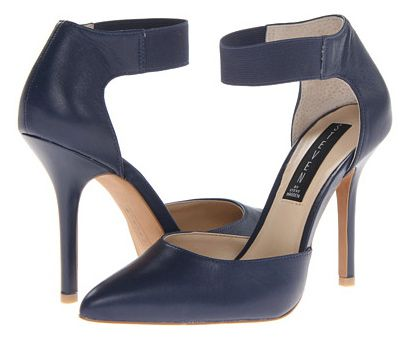 haditengerészet blue, two-piece pumps with high heels and ankle straps.