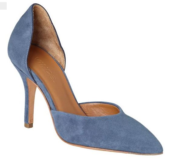 Két darab pumps with high heels, and muted blue suede uppers.
