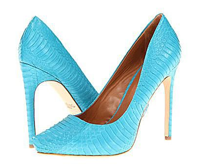 Magas heel shoes with reptile-embossed uppers in bright aqua.