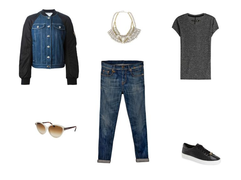 Jean jacket and boyfriend jeans outfit
