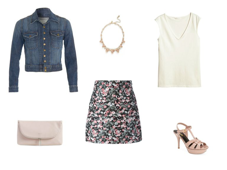 dril jacket and floral skirt outfit