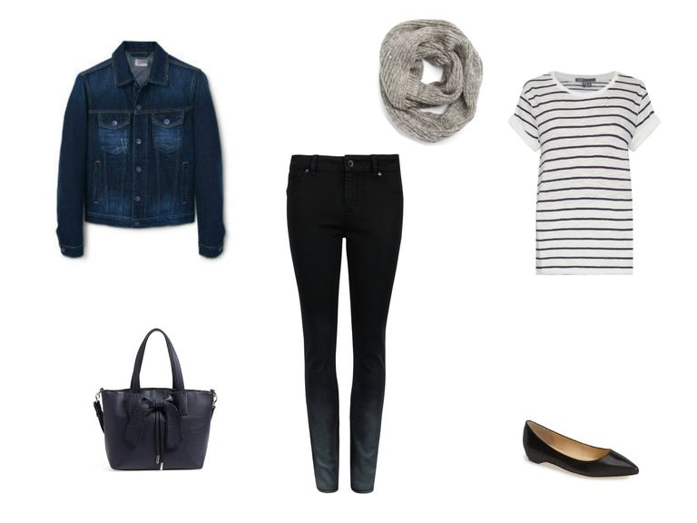 Jean jacket and jeans outfit with striped shirt