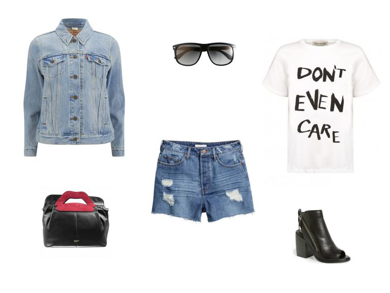 dril jacket and jean shorts outfit