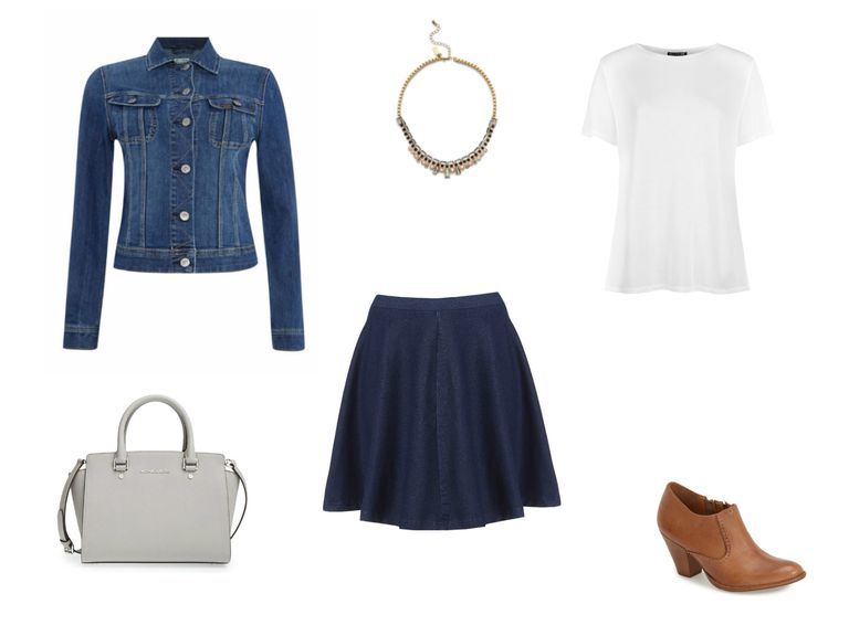 dril jacket and jean skirt outfit
