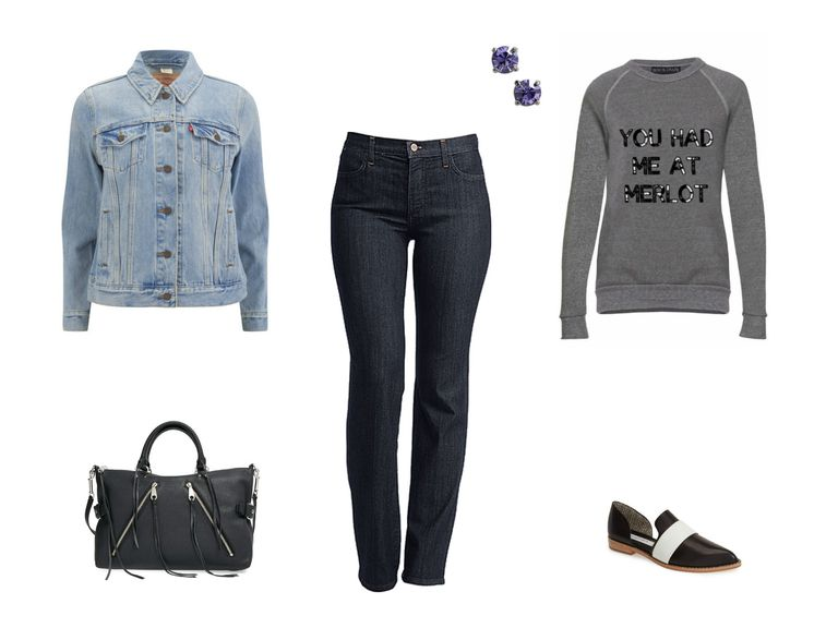 Jean jacket and skinny jeans outfit