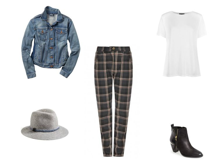 Jean jacket and plaid pants outfit