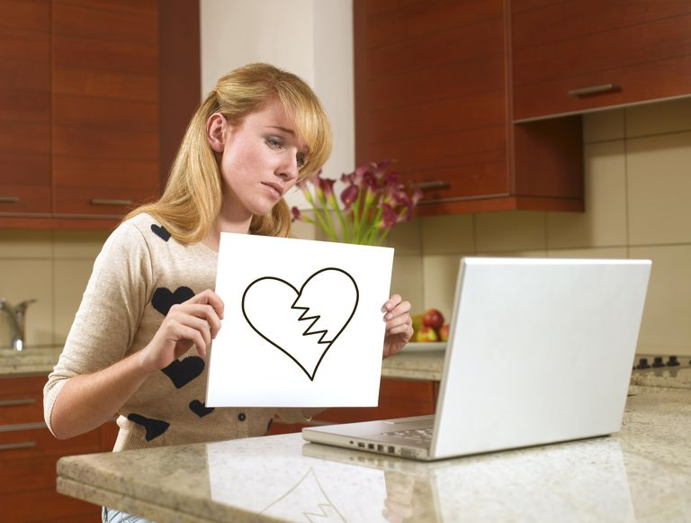 Kvinna on the internet with a broken heart sign