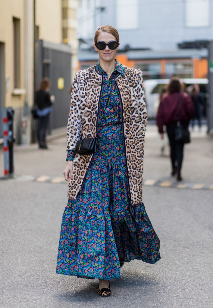 Ulica style oufit in leopard print coat and maxi dress