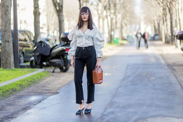 Ulica style ruffled blouse and straight leg frayed jeans