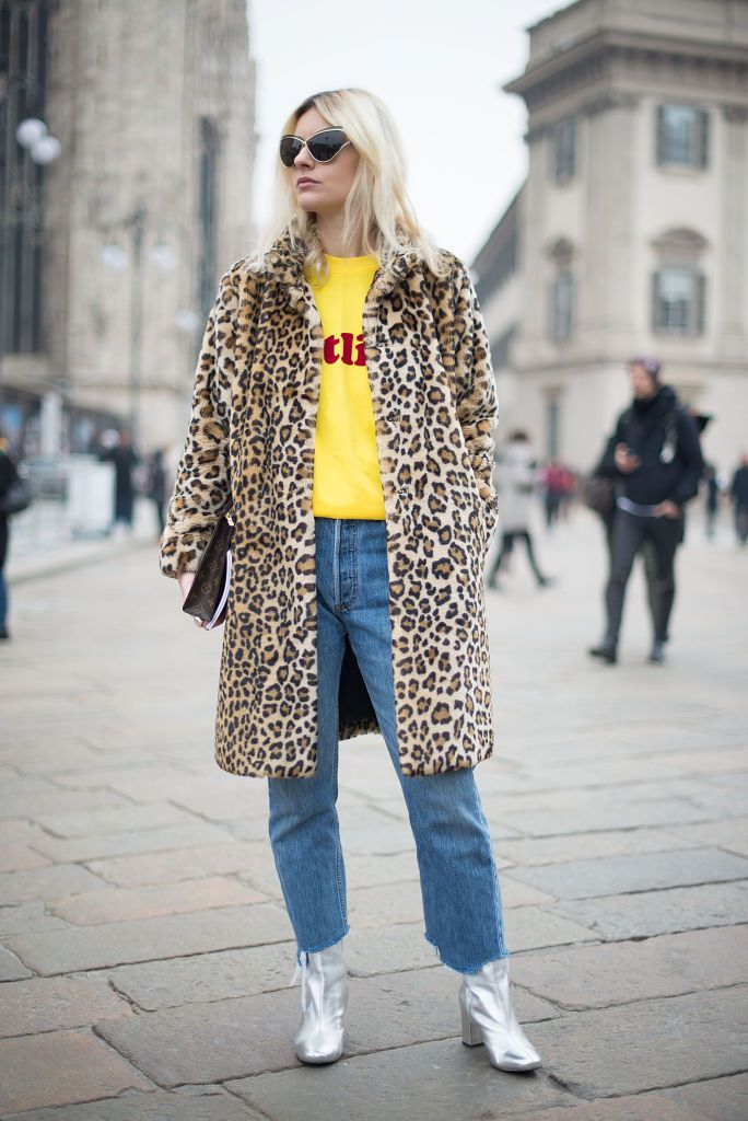 Ulica style in leopard print coat and raw hem jeans