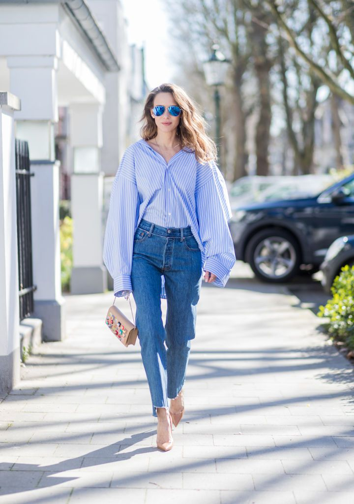 Ulica style in raw hem girlfriend jeans and a blouse