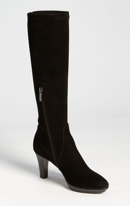 Crno dress boots with weatherproof stretch suede uppers and mid-height heels.